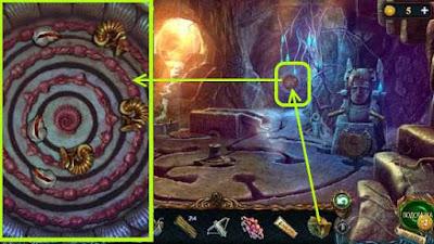 устанавливаем фигурку дракона и выставляем диски в игре затерянные земли 3