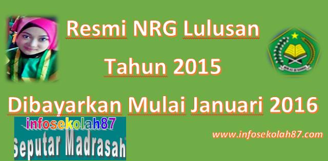 (SK Dirjen Nomor 3653 Tahun 2016) Alkhamdulillah NRG Tahun 2015 Resmi Di Bayarkan Mulai 2 Januari 2016