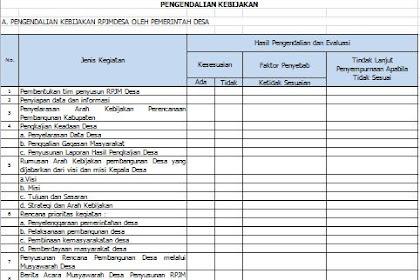 Format Pengendalian RPJM Desa dan RKP Desa