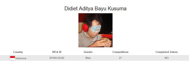 Profile akun WCA dari Didiet Aditya Bayu Kusuma yang merupakan peringkat kelima nasional dalam menyelesaikan banyak rubik dengan mata tertutup di Indonesia