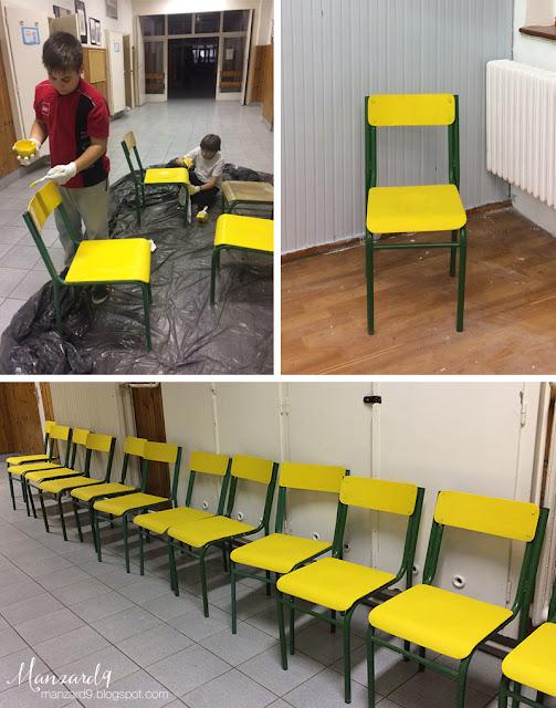 DIY osztályterem felújítás - sárgára festjük a székeket