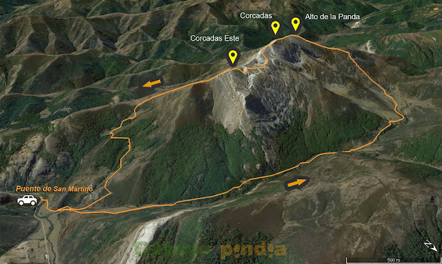 Mapa de la ruta al Pico Corcadas en el Parque Regional Montaña de Riaño y Mampodre.