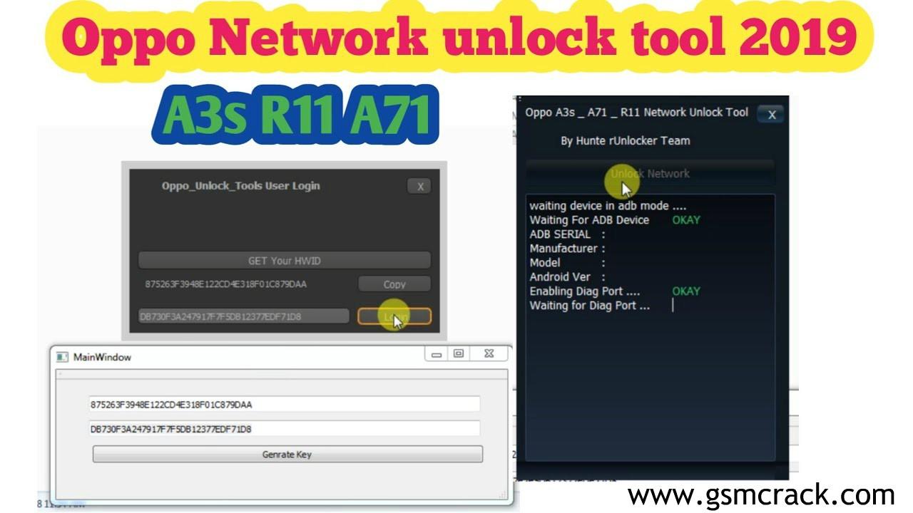 OPPO Network Unlock Tool A3s, F7, F9, F9 Pro, R11, R11s, R15