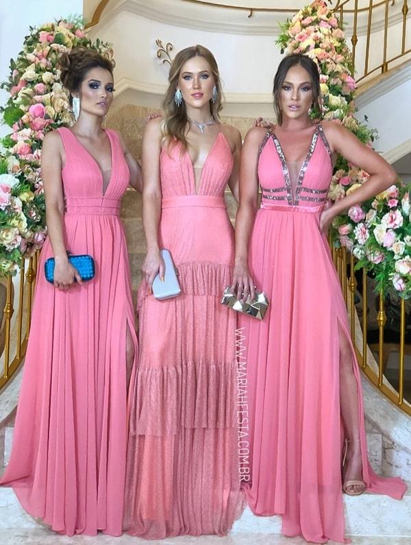 vestido longo rosa chiclete para madrinha de casamento