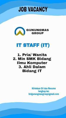 Lowongan Kerja Gunung Mas Group Sebagai IT Staff
