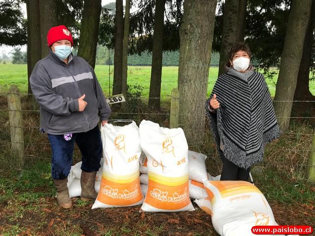 Familias de sectores rurales recibieron sacos de alimentos