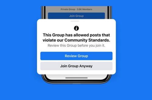 Facebook penalizes violating group members