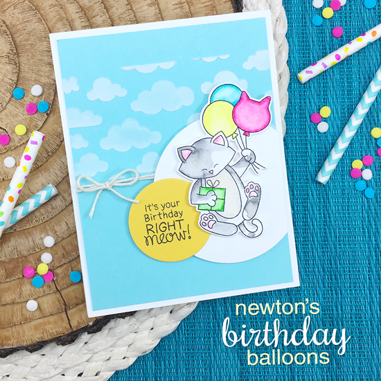Cat with Balloons Birthday Card by Jennifer Jackson | Newton's Birthday Balloons Stamp Set and Cloudy Sky Stencil by Newton's Nook Designs #handmade #newtonsnook