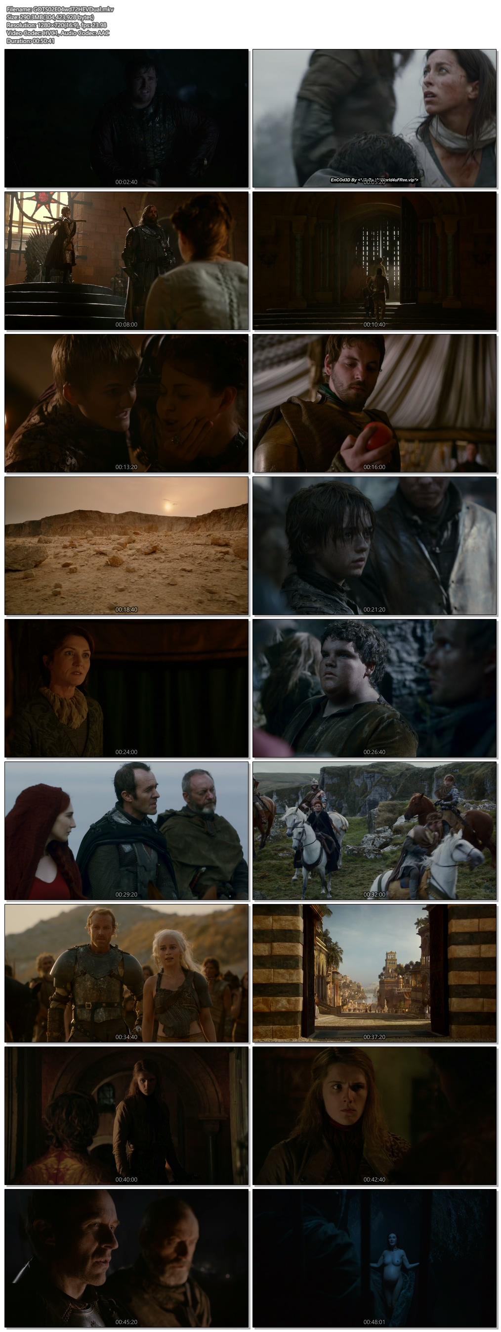 Screenshots Of Hindi Dubbed Show Game of Thrones 2012 Season 02 Episode 04 300MB 720P HD
