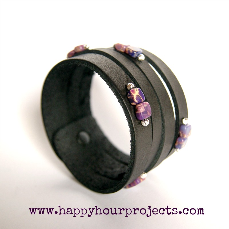 Beaded Leather Cuff Hy Hour Projects