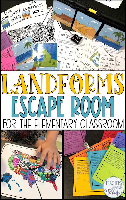 Perfect for Earth Day or any day. This exciting Escape Room is all about Landforms. Students must identify landforms, solve math problems, and place events in chronological order. They will use a display map with clipart images of the landforms to solve the puzzles and determine the lock code for three locked boxes. The resource includes a detailed and thorough teacher's guide with photos to help you prep the event. A STEM Challenge is also included! #STEM #elementary #escaperoom