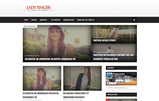 Lady Finger Responsive Personal Magazine News Site Blog Girl Blog Lifestyle Blogger Template Theme