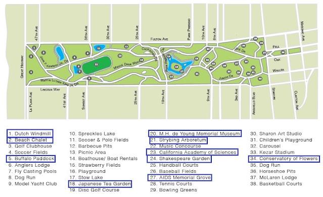 mapa do parque golden gate