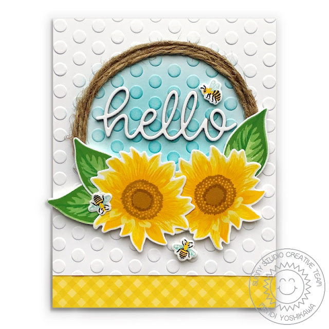 Sunny Studio Stamps: Sunflower Fields Layered Flower Wreath Style Card (using Hello Word Die, Lots of Dots Polka-dot 6x6 Embossing Folder & Classic Gingham Paper)