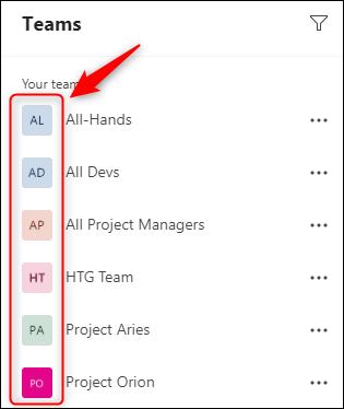 قائمة بالفرق في Microsoft Teams.