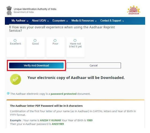 Online Download Aadhar Card