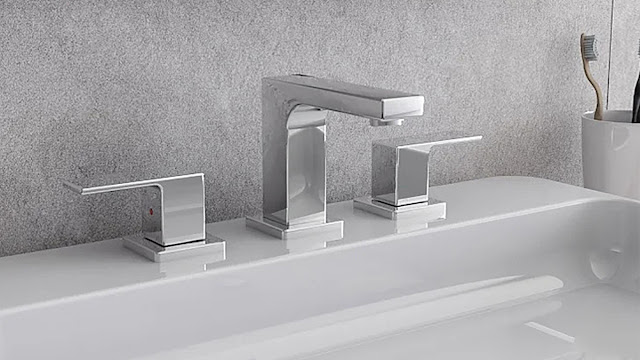 Fresca contemporary sink faucet with two handles.
