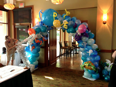 Underwater themed balloon arch with octopus, fish, turtle