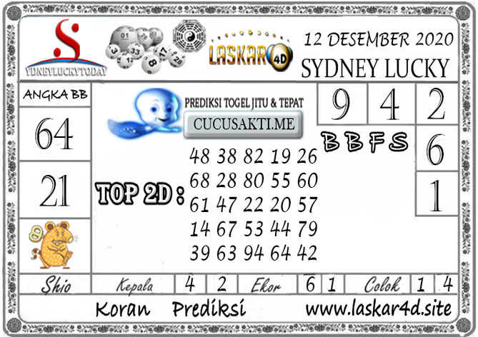 Prediksi Sydney Lucky Today LASKAR4D 12 DESEMBER 2020