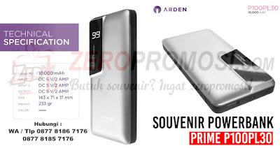 Souvenir Kantor Powerbank PRIME P100PL30, Jual Merchandise Powerbank Arden custom logo di Tangerang