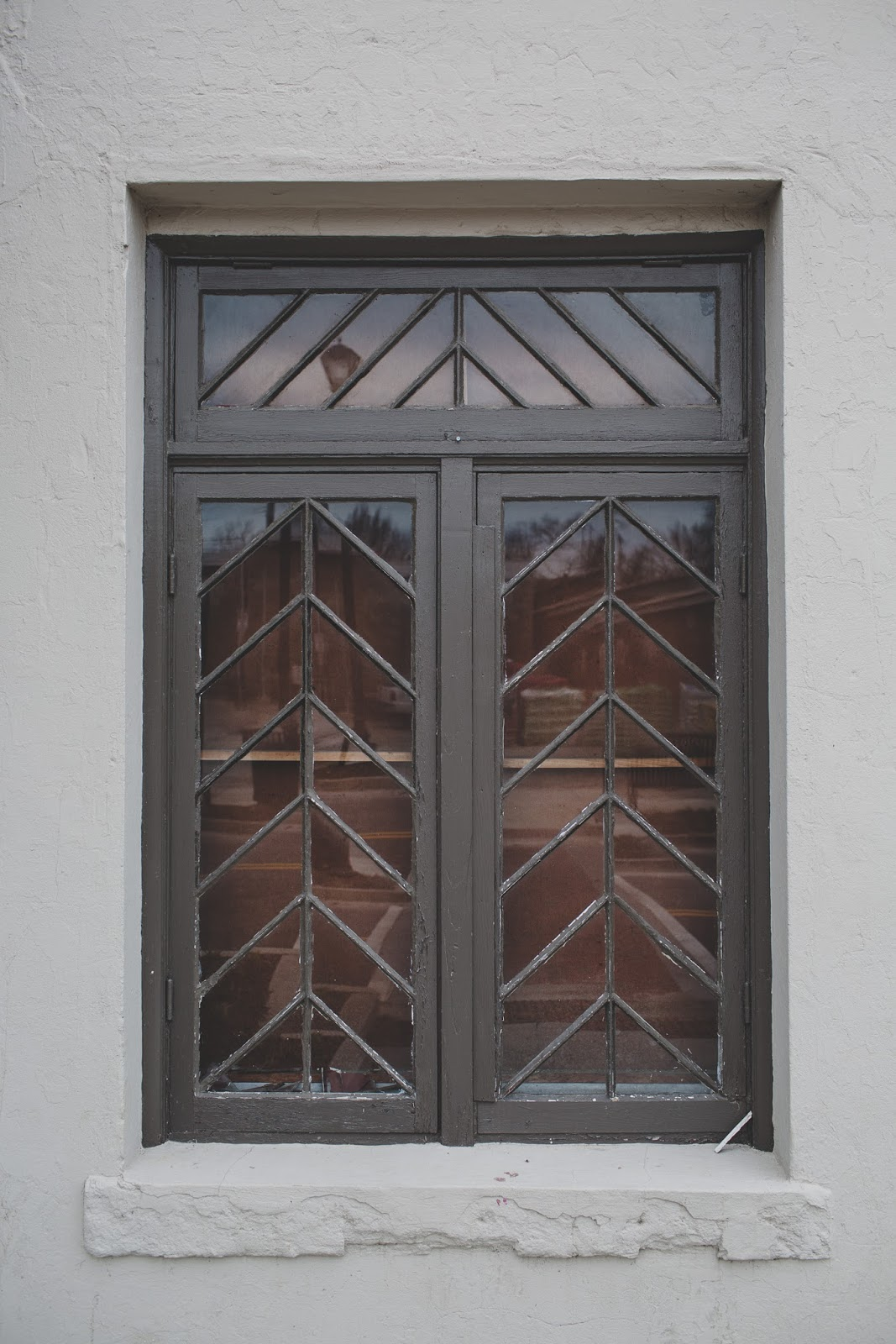 Art deco chevron window of the Bells Theatre. Please donate and help revive our theatre! - bit.ly/bellstheare