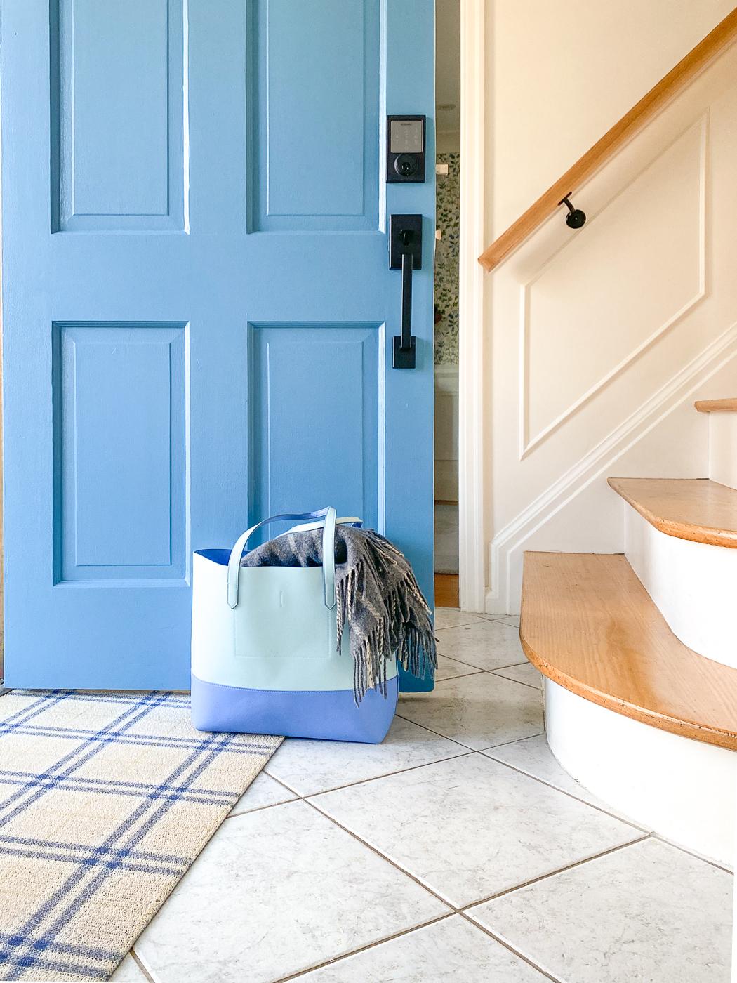 plaid front door mat, blue moon bay behr