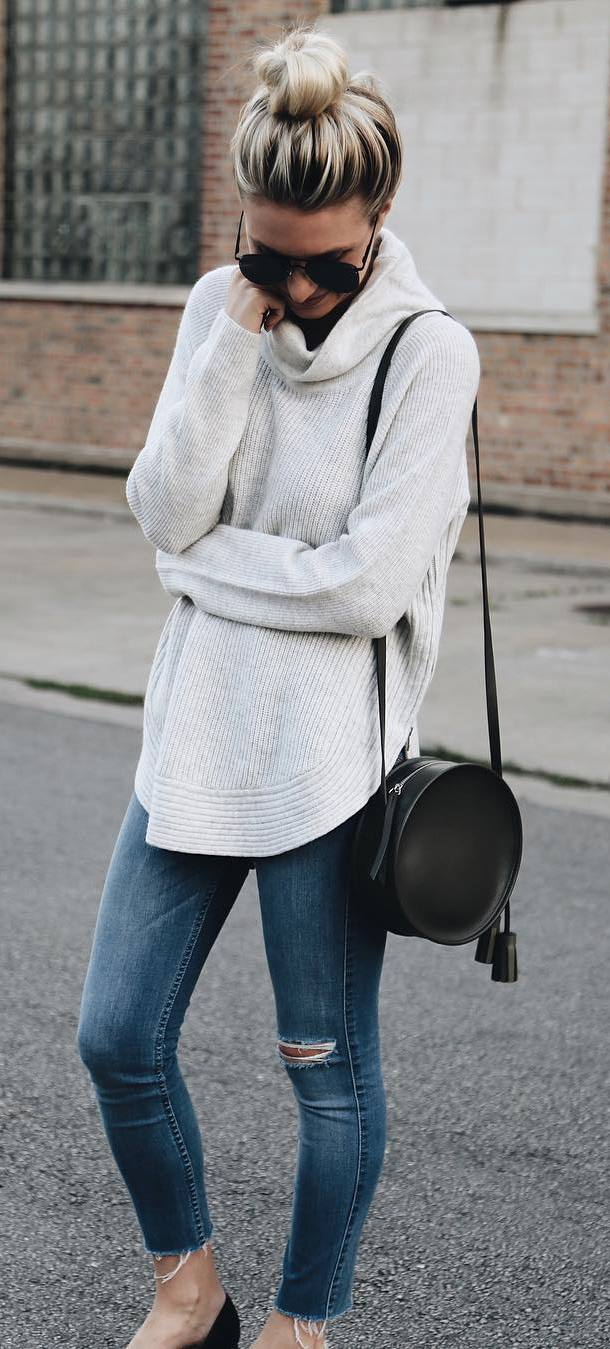 fall inspiration: knit + bag + jeans