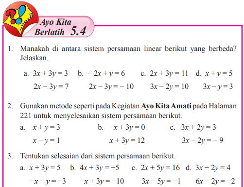 Jawaban Ayo Kita Berlatih 5 4 Halaman 228 Matematika Kelas 8 Sistem Persamaan Linear Dua Variabel Bastechinfo