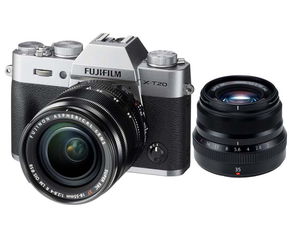 FUJIFILM Mirrorless Digital Camera X-T20 Kit2 - Silver + Fujinon XF 35mm F2 R WR Lens - Black (PWP)
