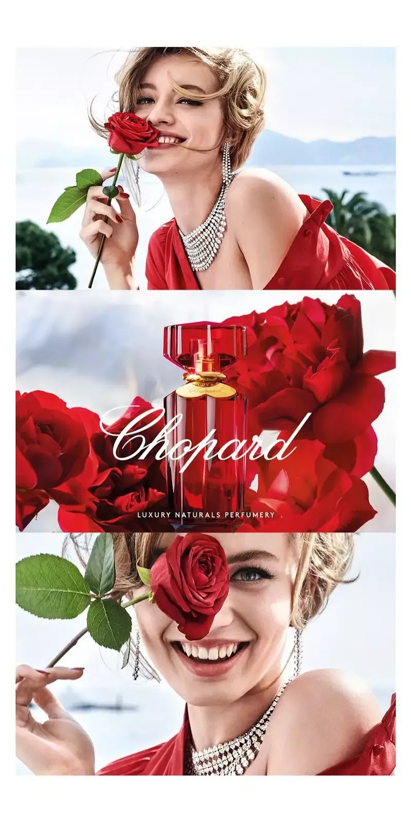 Model Giulia Maenza appears in Chopard Love Chopard perfume campaign