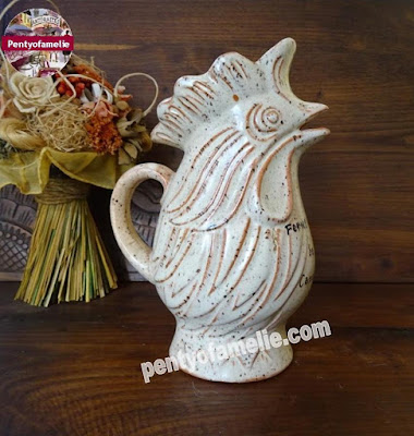 french vintage Rooster wine jug, barbotine stoneware pitcher with Rural Inn mentioned on front