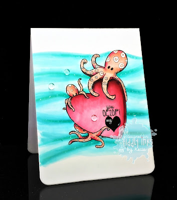Tiddly Inks, Kecia Waters, Copic markers, octopus, Valentine, octopi