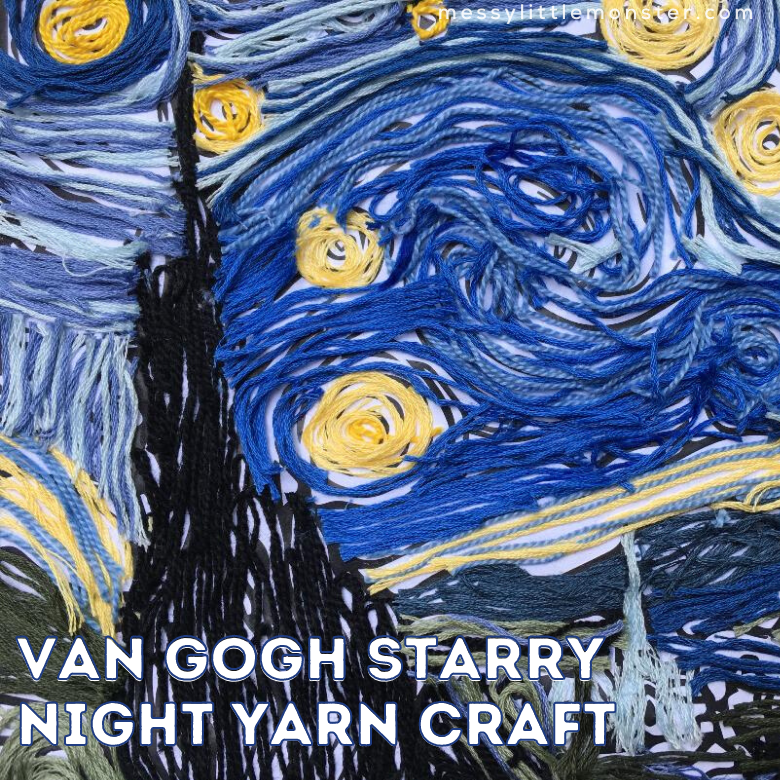 Van Gogh Starry Night Inspired Yarn Craft for Kids (printable included)