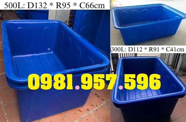 Thùng nhựa 300L, thùng nhựa 500L, thùng nhựa 750L