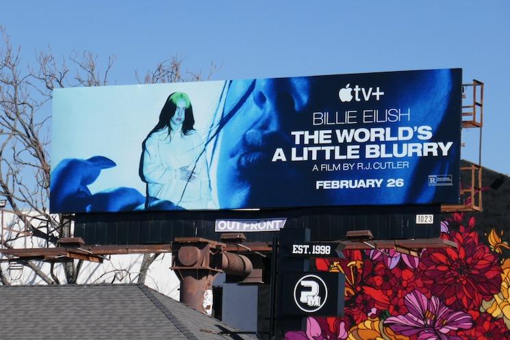 Billie Eilish Worlds a Little Blurry film billboard
