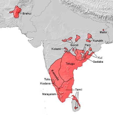 The distribution of Dravidian speaking people in the Indian subcontinent