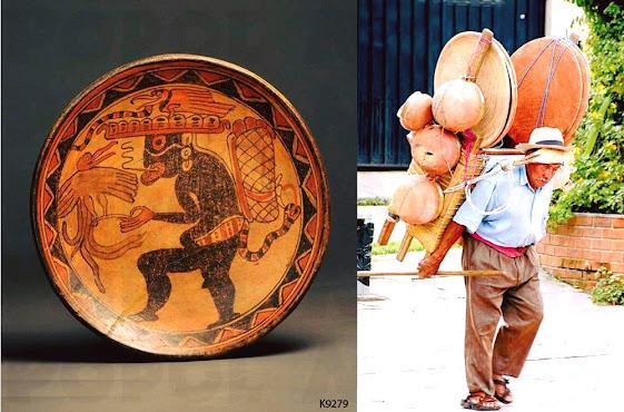 Vasija maya de un dios cargador y un anciano utilizando un mecapal para cargar en la Ciudad de Guatemala