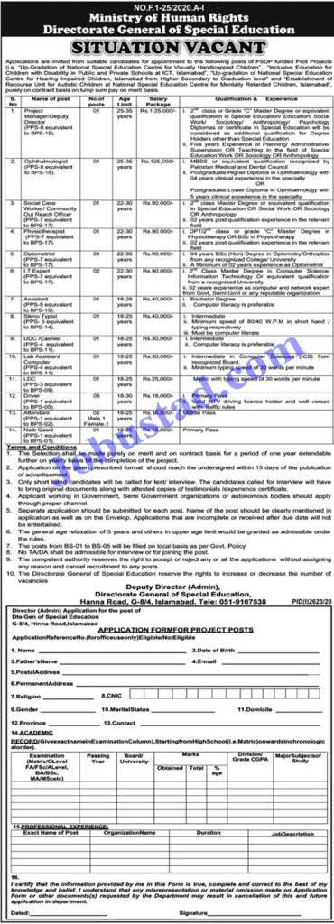 Latest jobs vacancies in Govt Of Pakistan Ministry Of Human Rights. Applications are invited for the Posts of Project Manager Deputy Director, Ophthalmologist, Social Case Worker, Physiotherapist, Optometrist, IT Expert, Assistant, Steno Typist, UDC, Lab Assistant, LDC, Driver, Naib Qasid, Attendant, Senior Technician, music Teachers, Vocational Teachers, Cataloger, Braille Proof Reader, Dispatch Rider, Attendant
