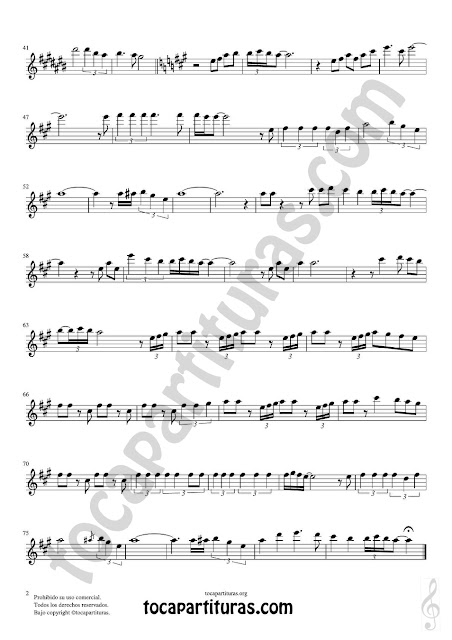 Hoja 2  Saxofón Alto y Sax Barítono Partitura de  Sheet Music for Alto and Baritone Saxophone Music Scores