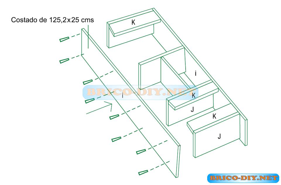 Plano como hacer un mueble escritorio de melamina y for Planos de bajo mesada de melamina