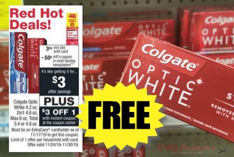 FREE Colgate Optic White Toothpaste at CVS 11/24-11/30