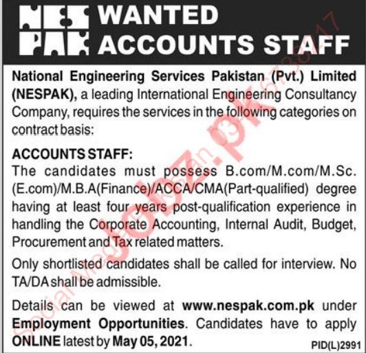 Accounts Sttaf Jobs 2021