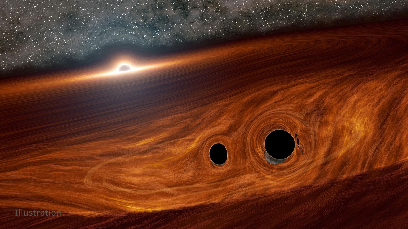 Mesclando buracos negros no centro de um quasar