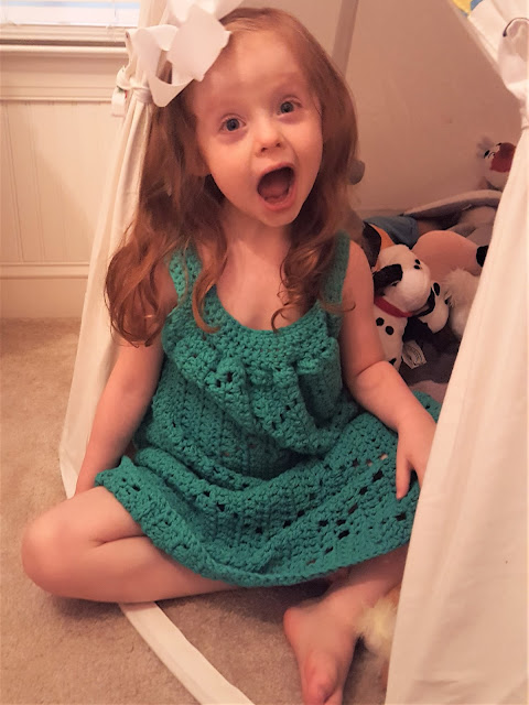 Green Summer Diamonds Crocheted Toddler Dress
