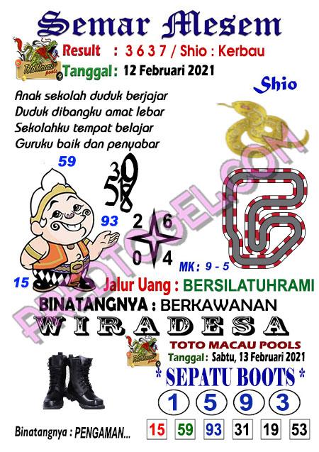 Syair Toto Macau Semar Mesem Sabtu 13 Februari 2021