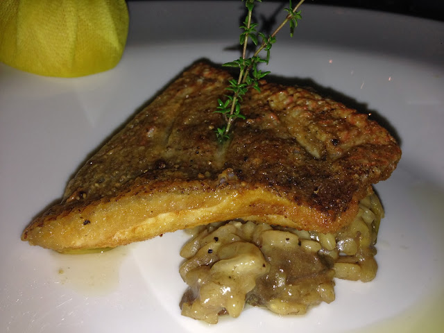 Crispy Red Snapper, Porcini Mushroom Risotto, Extra Virgin Olive Oil, Lemon