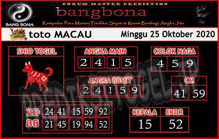 Prediksi Bangbona Toto Macau Minggu 25 Oktober 2020
