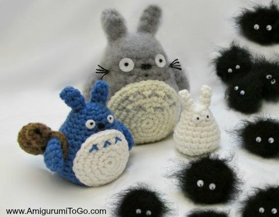 Amigurumi Totoro : Totoro and soot sprites free pattern with video amigurumi to go