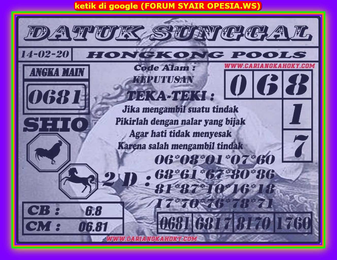 Kode syair Hongkong Jumat 14 Februari 2020 88
