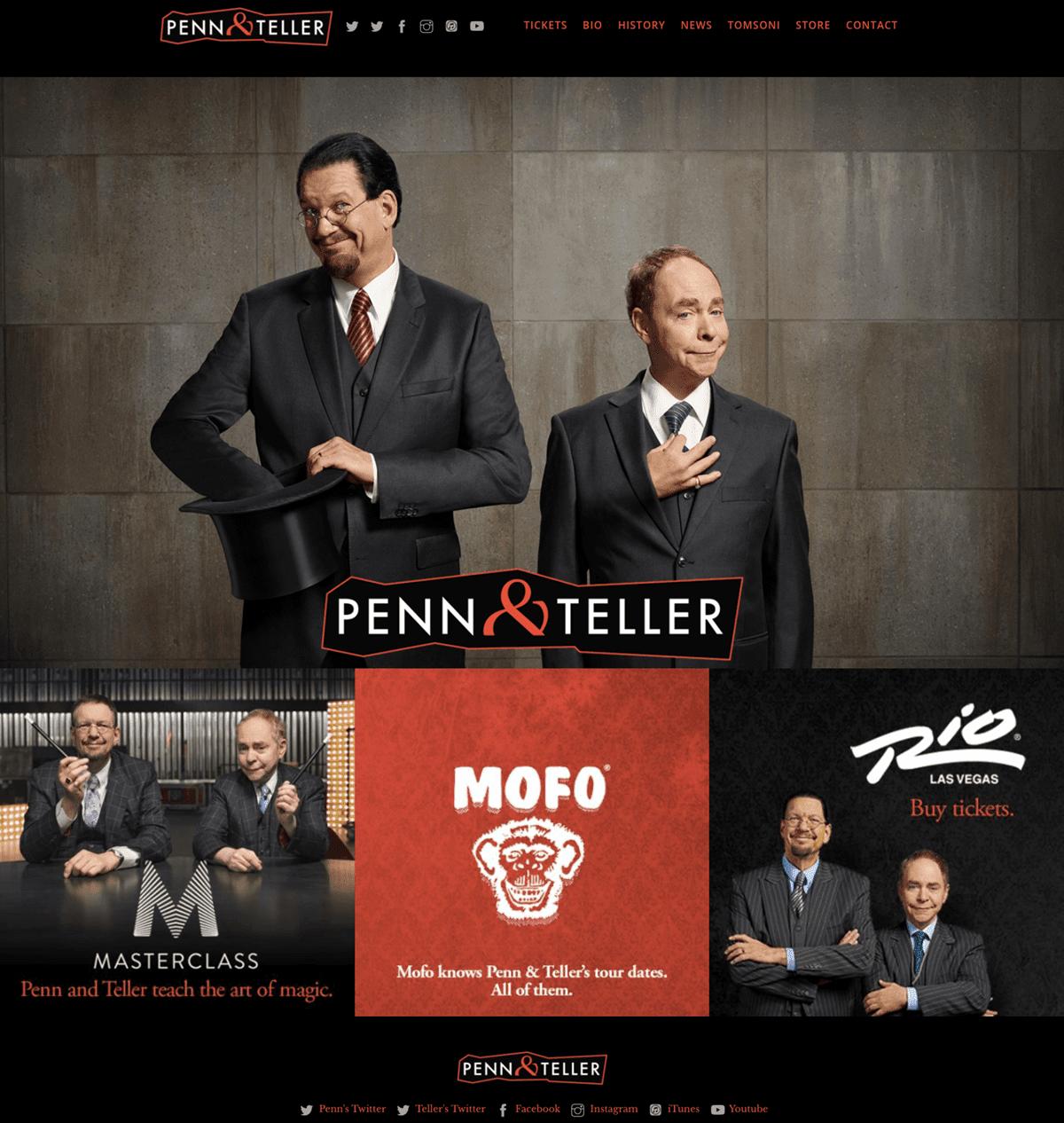 Screengrab of Penn & Teller's dark mode homepage design